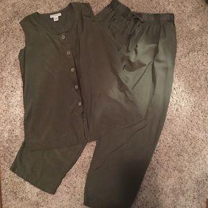 Silk Pant Set /Croft & Barrow - Olive Green Large